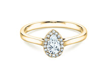 Anillo de compromiso Pear Shape en 18K oro amarillo con diamantes 0,50ct