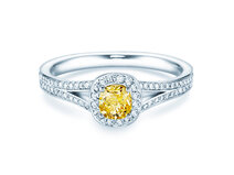 Anillo de compromiso Fancy Yellow Cushion en 18K oro blanco con diamantes 0,90ct